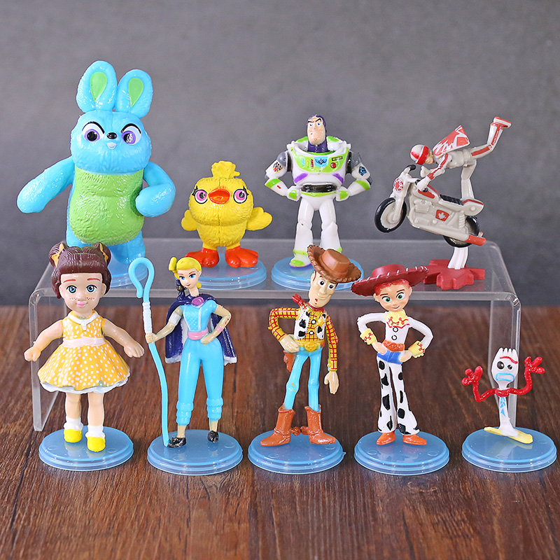 Toy Story 4 Buzz Lightyear Woody Jessie Bo Peep Forky Ducky Bunny Gabby Duke Caboom Figures Toys Gift For Kids 9pcs/set