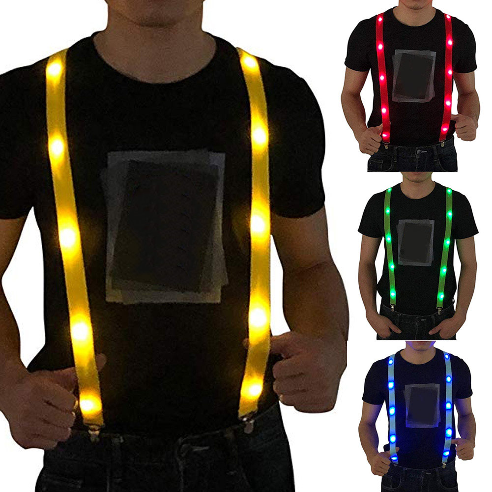 LED Glow Light Up Suspenders Adjustable Elastic Outdoor Sports Warning Chest Strap -MX8