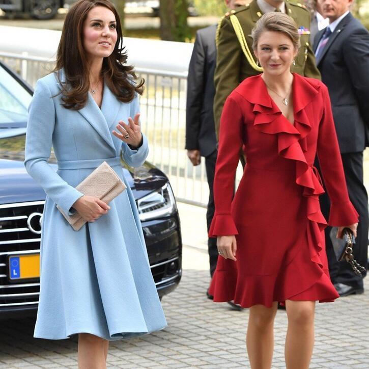 Fashion Elegant Blazer Dresses Ladies Office Wear Kate Middleton Princess Blue Dress Suit Jacket Slim Autumn Winter Female 2019