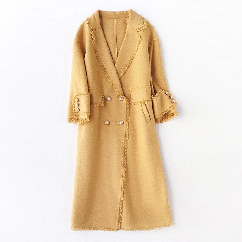 Shuchan Tassel Casaco Feminino  Long Coat Women Double Breasted Wide-waisted High Street Korean Fashion Autumn Winter