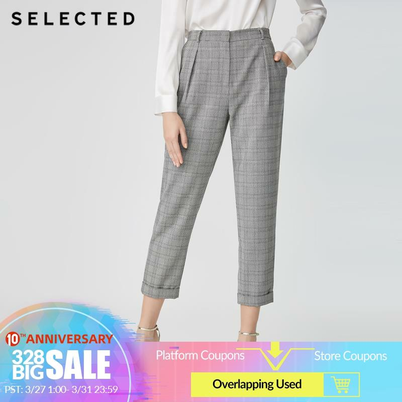 SELECTED Women's Retro Plaid Casual Radish Cropped Crop Pants SIG|419118509