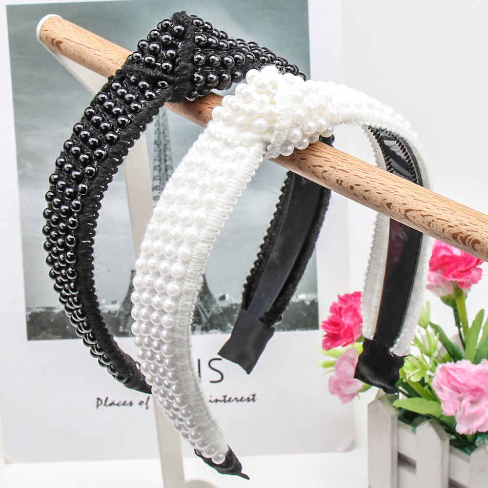 Xugar Hair Accessories Black White Pearl Headbands for Women Cross Tie Hairbands Girls Spanish Style Knotted Headband