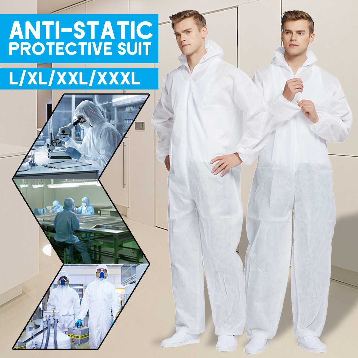 Disposable Anti-epidemic Antibacterial Plastic Closures Isolation Suit Protective Clothing Dust-proof Coveralls Antistatic