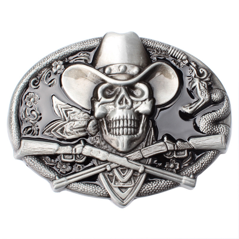Skull Skeleton Belt Buckle Belt DIY Accessories Western Cowboy Style Smooth Belt Buckle Punk Rock Style K13