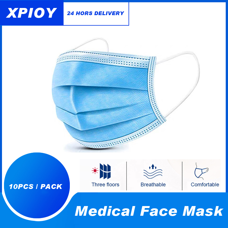 XPIOY 50/100pcs Disposable Surgical Medical Mask 3-Ply Filter Anti-dust Virus Non-Woven  Nose Proof Earhook Face Mouth Masks