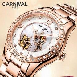CARNEVALE di Marca di Lusso In Oro Rosa Delle Donne Della Vigilanza Del Diamante di Modo Orologi Meccanici Automatici Delle Signore Orologio Luminoso Relogio Feminino