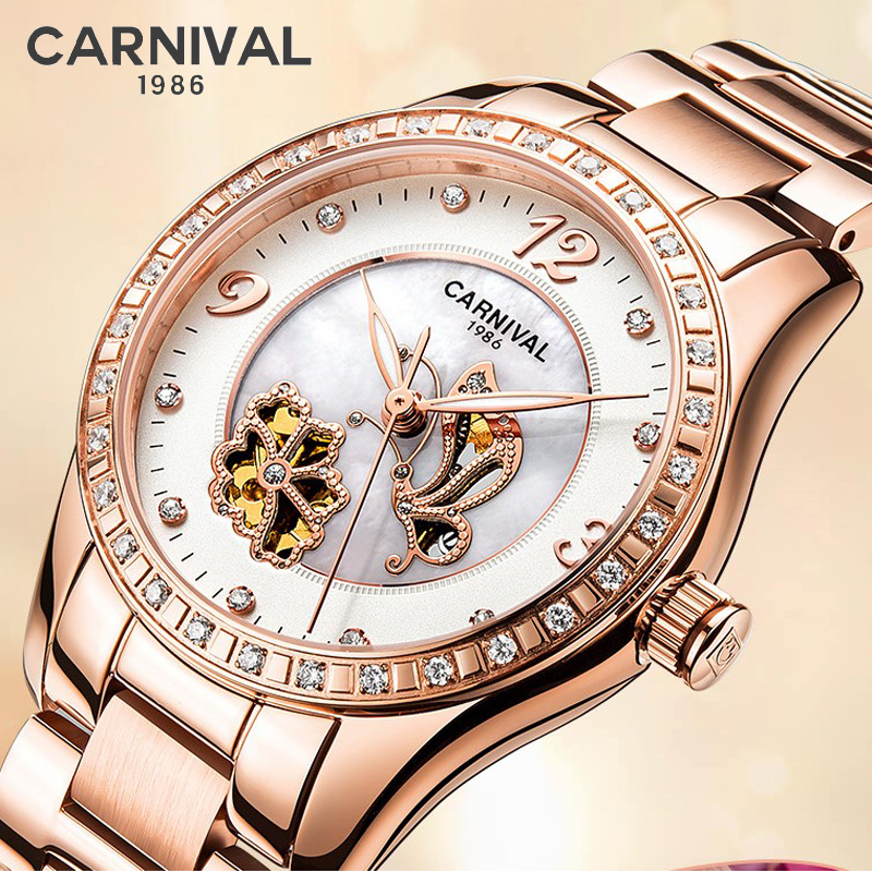 CARNIVAL Luxury Brand Rose Gold Watch Women Fashion Diamond Automatic Mechanical Watches Ladies Luminous Clock Relogio Feminino