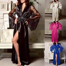 Sexy sleepwear rendas retalhos longos roupões de noite roupão de banho de seda macia roupão de banho para mulher vestido de saia longa roupa interior