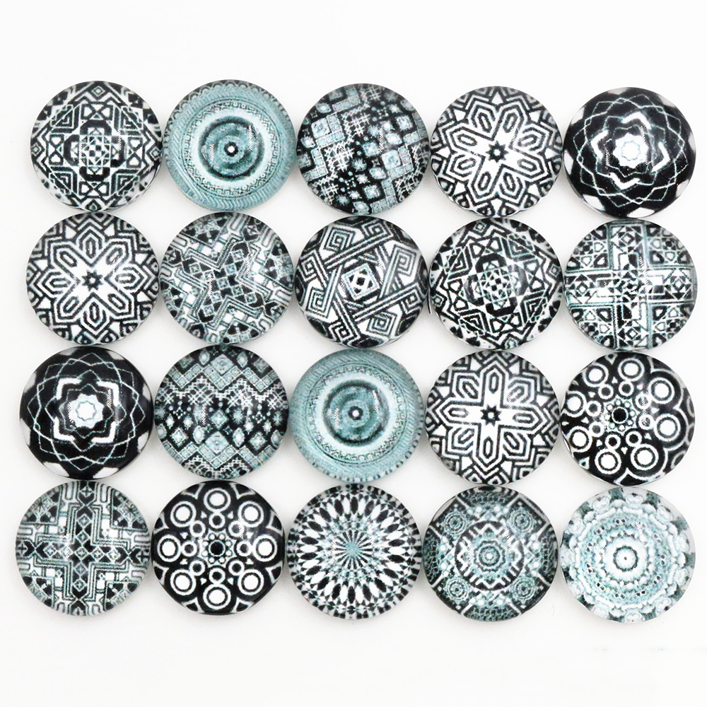 50pcs/Lot 12mm Photo Glass Cabochons Mixed Color Cabochons For Bracelet Earrings Necklace Bases Settings-C5-34