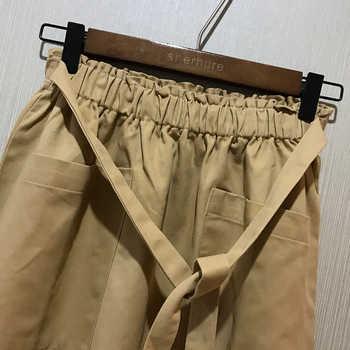 2020 Vintage Stretch High Waist Summer Women Midi Skirt Pocket Design Saia Women A-Line Skirt With Belt Faldas Jupe Femme