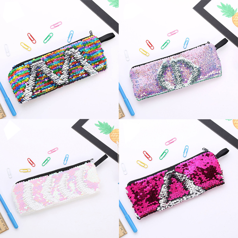 Reversible Mermaid Sequins Pencil Case Glitter Pencil Bag For Girls Gifts Cute Pencilcase Back To School Supplies Stationery
