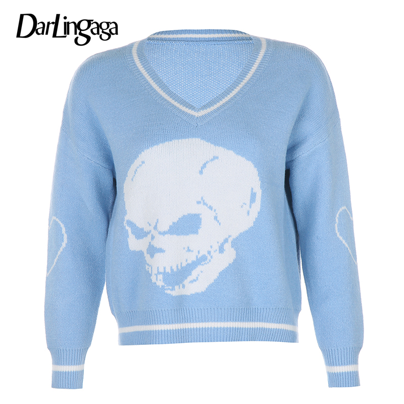 Darlingaga Gothic Skull Print Autumn Winter Woman Sweaters Fashion Loose Y2K Pullover Harajuku Knitted Sweater Ladies Pull Femme 7