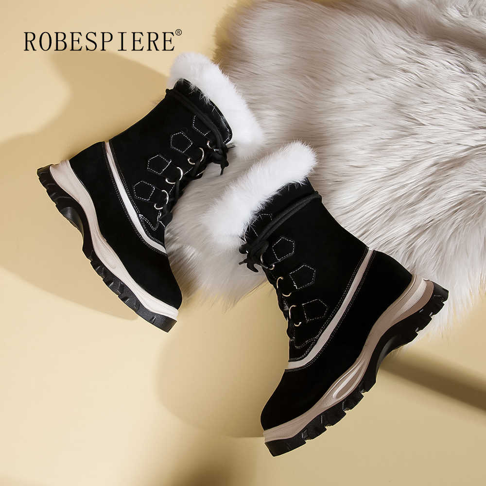 ROBESPIERE ผู้หญิงหิมะรองเท้าบูทคุณภาพวัว Suede ธรรมชาติขนสัตว์ฤดูหนาวข้อเท้าอุ่นรองเท้าสำหรับสตรีรองเท้าแพลตฟอร์ม b115