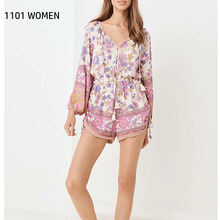ZA new spring women purple colorful floral printed full sleeve V-neck short Jumpsuit vocation style casual female clothes(China)