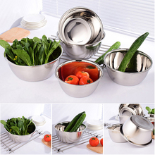Stainless steel vegetable basin Ingredients Standby Bowls Mixing Bowl Stainless Steel Salad Mixer Kitchen Cooking Tools D35 3pcs high quality multifunctional kitchen daily necessities seasoning mixing pot tableware stainless steel bowls