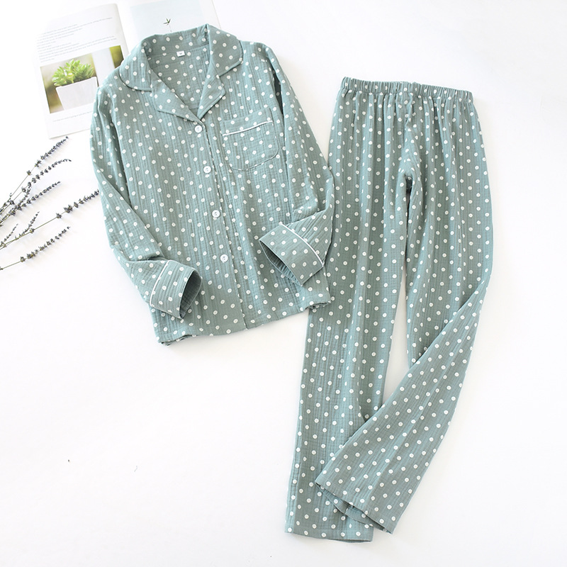 2020 New Ladies Pajamas Summer Polka Dot Print Pajamas Set Cotton Crepe Sleepwear Femme Top+Full Length Pants Women Homewear