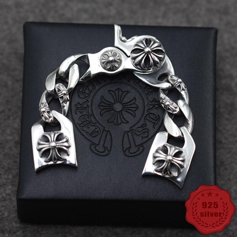 S925 argent sterling montre chaîne personnalité mode rue danse punk style croix fleur lettre forme cadeau 2019 nouvelle offre spéciale
