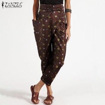 Las mujeres pantalones ZANZEA moda Primavera pantalones con cinturón de cintura alta, Pantalon Palazzo mujer Zip nabo de talla grande S-XL
