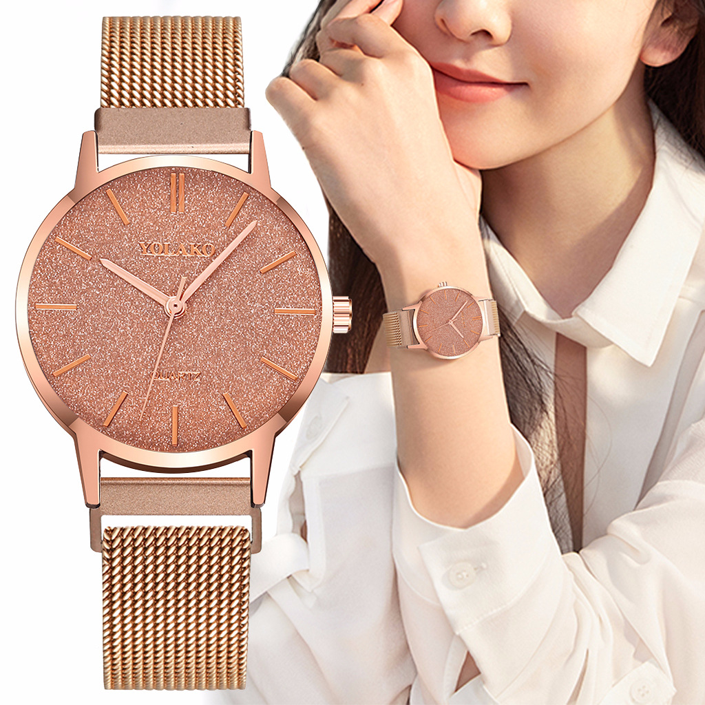 YOLAKO Brand Casual Women's Watch Alloy Strap Magnetic Buckle Fashion Frosted Dial Temperament Quartz Watches Relogio Feminino