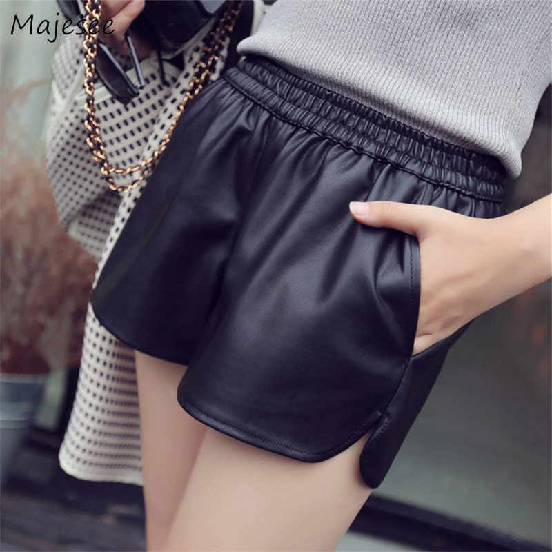 Shorts Women Winter Thick High Quality Black PU Trousers Womens Harajuku Korean Style Simple Ladies Daily Streetwear All-match