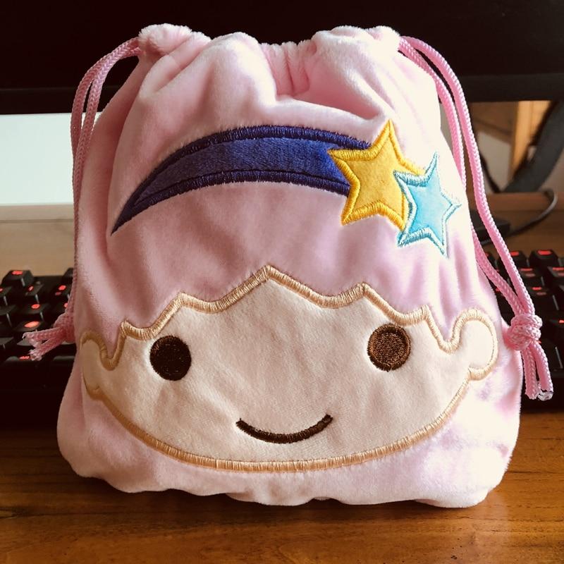 Little Twin Stars Drawstring Bags Plush Storage Handbags Makeup Bag Coin Bundle Pocket Purse NEW