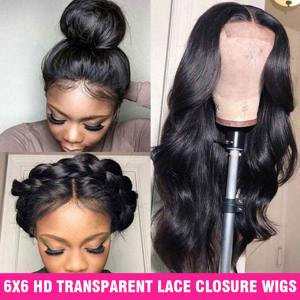 Hd Transparent 6X6 Closure Wig Lace Front Human Hair Wigs Pre Plucked Body Wave Wigs 150% Remy Frontal Wig 13X6 Brazilian Wig