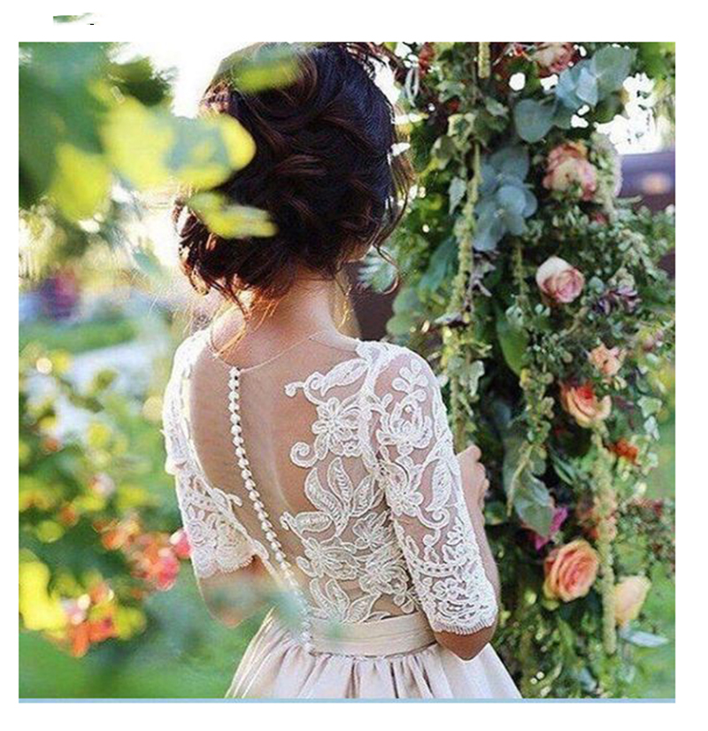 Lace Gowns 2021 Bride White Dress Dress Brides Design Back New Elegant Appliques Wedding Gown Line Wedding Illusion Lvory A