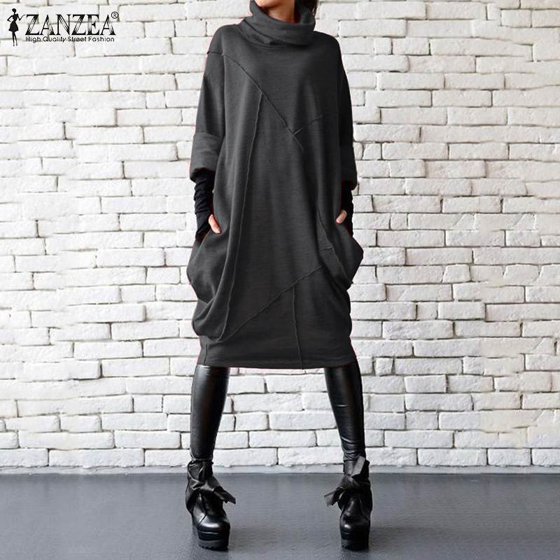 2019 Plus Size ZANZEA Autumn Dress Women Casual Vintage Solid Turtleneck Long Sleeve Sundress Vestidos Female Asymmetrical Robe