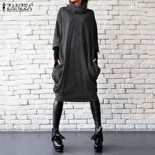 2021 plus size zanzea vestido de outono feminino casual vintage sólido gola alta manga longa vestidos feminino assimétrico robe