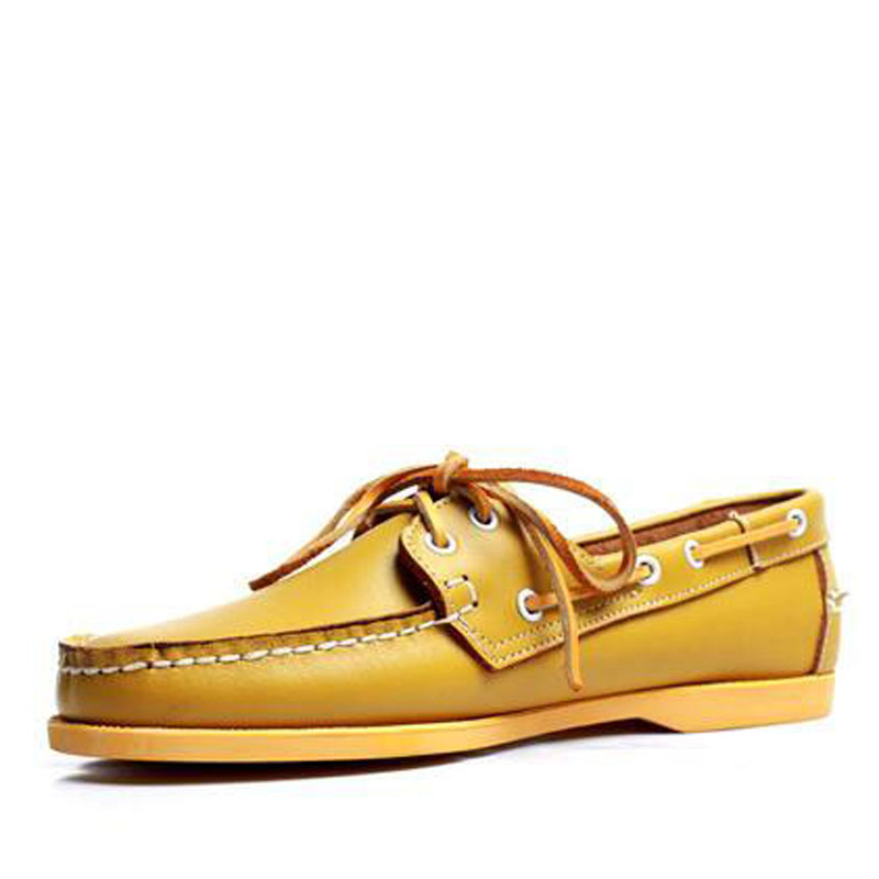 Men Women Genuine Leather Docksides Classic Boat Shoes,Homme Femme Yellow Plus Big Size 36-46 Brand Flats Loafers 2019A077