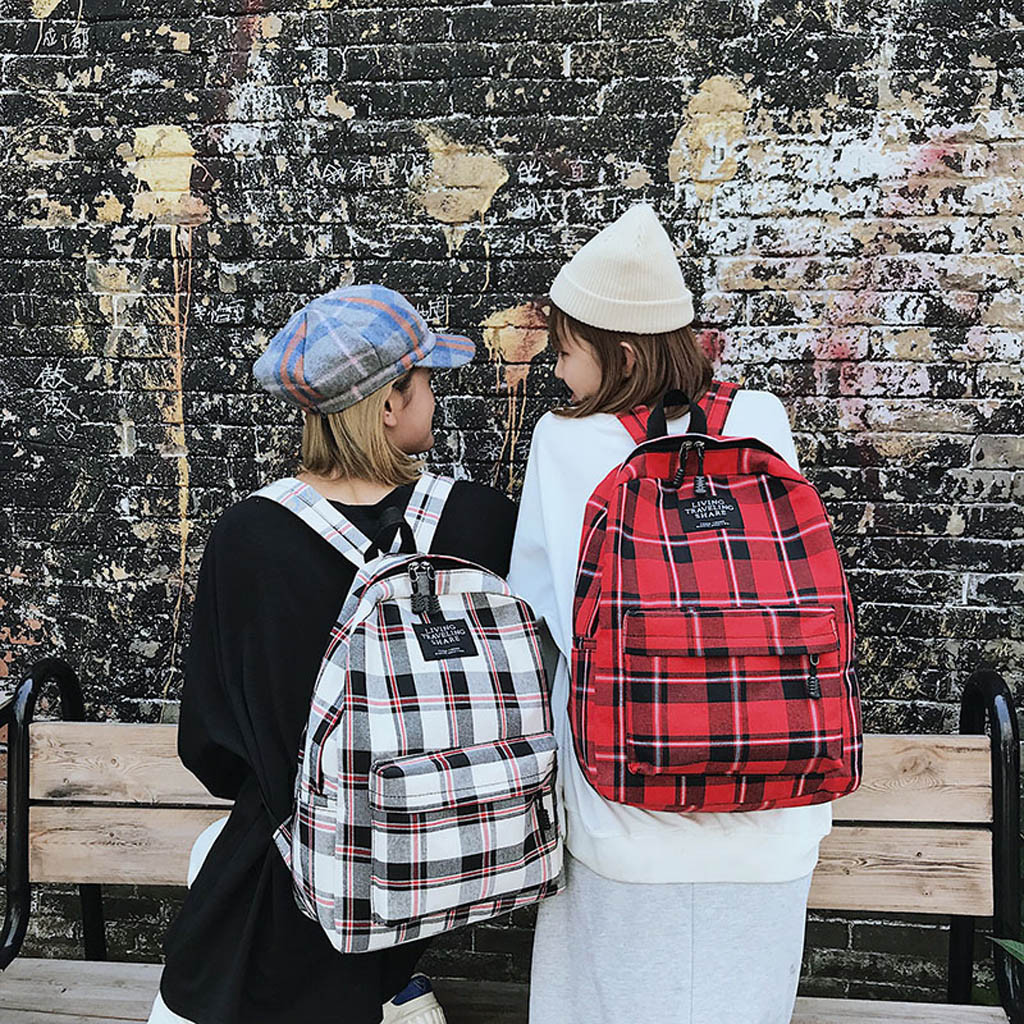 Women New Bag Female Student College Wind Bag Plaid Canvas Backpack Travel Bag