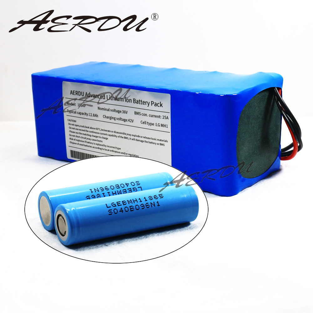 AERDU 36V 10S4P 12.8Ah For LGEBMH11865 13ah 12ah With 25A BMS 42V Lithium Battery Pack Ebike Electric Car Bicycle Motor Scooter