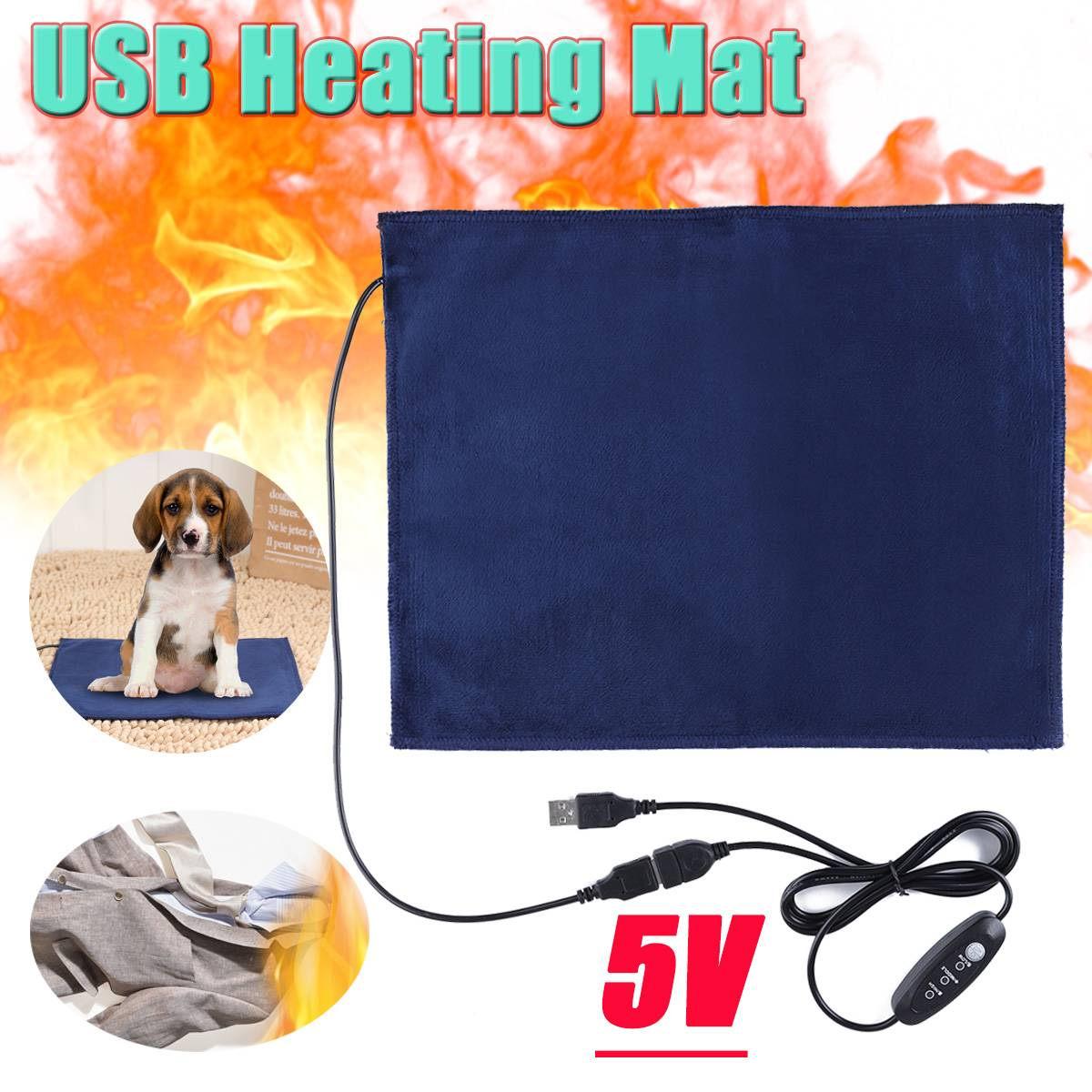 Heating Mat Pet 5V USB Electric Clothes  Sheet Winter Plush Pads Warmer Bed Pad Three Temperature Carbon Fiber Cat Dog Mat