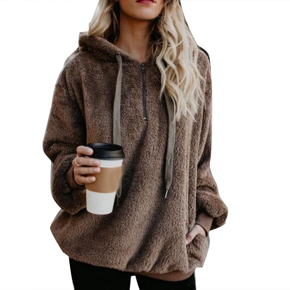 Moletom com capuz plus size inverno cor sólida 1/4 zip up fofo hoodies feminino outono casual jaqueta quente