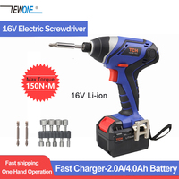TCH 16V Max Impact Cordless Electric Screwdriver Household Rechargeable Battery Screwdriver with LED Light