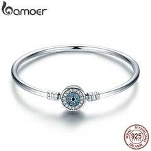 BAMOER Bracelet en argent Sterling 925 avec les yeux bleus, chaîne en serpent, bijoux de luxe, haute qualité, transparent en CZ, SCB012