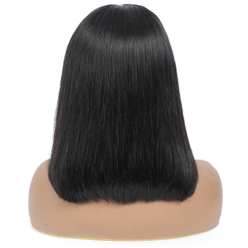 180 density 4x4 bob wig lace front human hair wigs pre plucked short  straight Frontal Wigs For black women 3