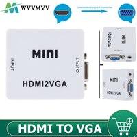 Convertidor de adaptador Mini HD 1080P HDMI, compatible con VGA, convertidor compatible con VGA, con Audio para portátil, proyector HDTV