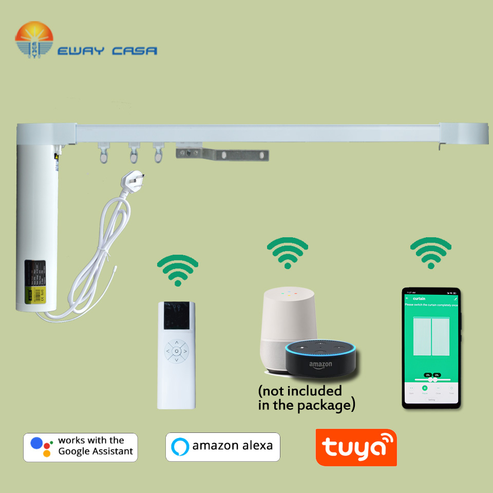 EWAY CASA Alexa&Google Home Tuya Motorized WiFi Curtain Track  Automatic Electric Curtain Track Smart Home CM_ CMJTUYA_ TRACK1N