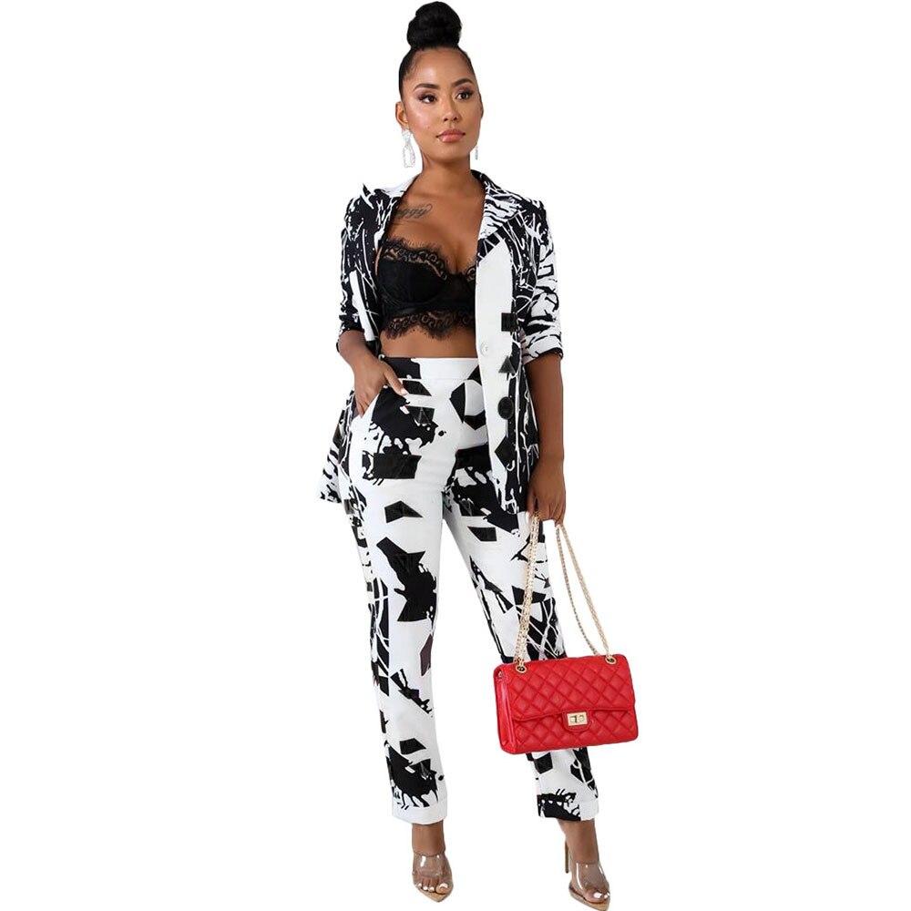 Office Lady Blazer 2 Piece Set Women Winter Workwear Full Sleeve Graffiti Blazers Pant Suits Elegant Trouser Suit Tailleur Femme