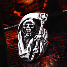 Винтажное байкерское кольцо из титановой стали с черепом в готическом