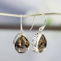S925 silver hand inlaid retro women's water drop cut tea Crystal Earrings Fashion Pattern Earrings Jewelry