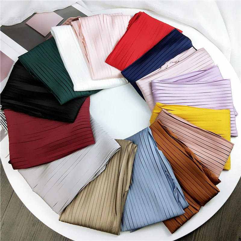 70*<font><b>70cm</b></font> Solid Pleated Stretchy Square Crinkle <font><b>Silk</b></font> Satin Small Neck <font><b>Scarf</b></font> Women Decoration Crumple Neckwear Handkerchief image