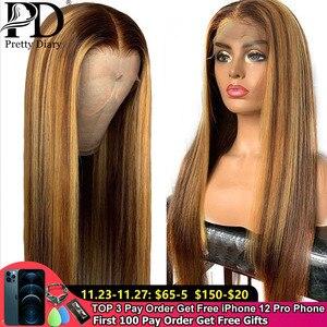 Бесклеевая кружевная передняя часть, парик из натуральных волос, прямые волосы с эффектом омбре, предварительно выщипанные волосы, Выбелен...