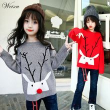Baby Girls Sweater Autumn Children Christmas Deers Knitted Pullover Sweaters Toddler Kids Winter Clothes for Girl 3 11 12 Years