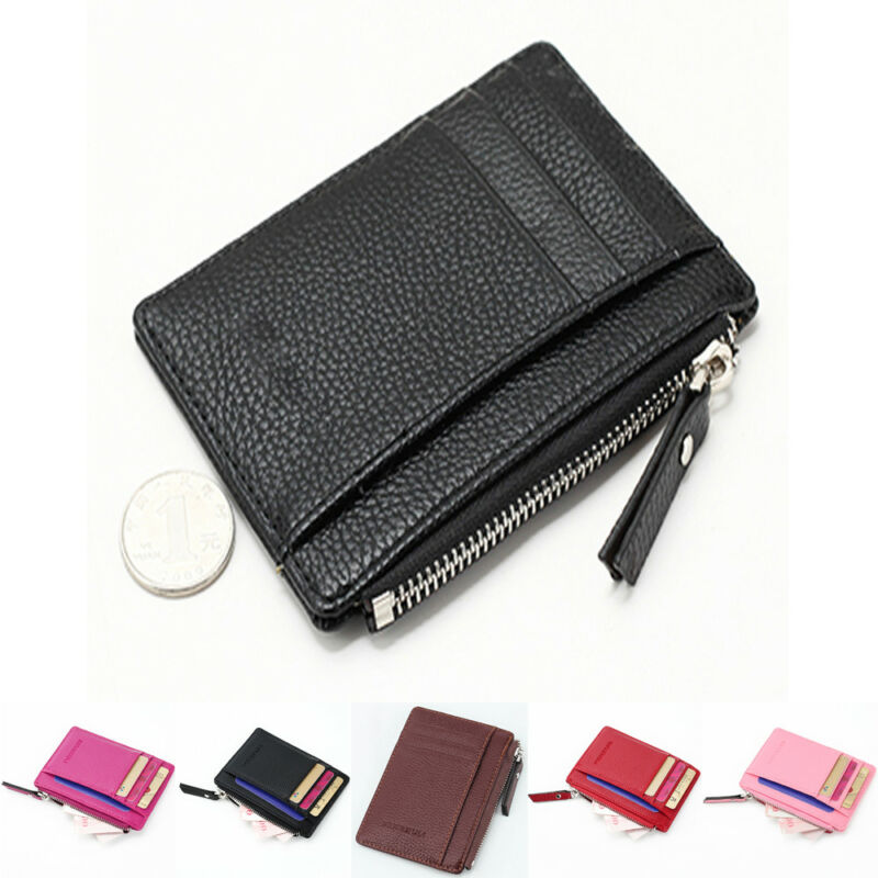 Pure Color Unisex Wallet Business Card Holder Casual PU Leather Coin Pocket Zipper Card Organizer Purse Men Women Short Wallets