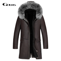 Gours Winter Genuine Leather Jackets Men Fashion Black Real Shearling Sheepskin Long Coat with Natural Fox Fur Hooded New JF1805