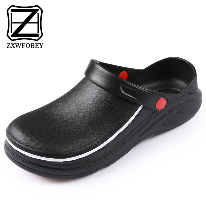 ZXWFOBEY Non-slip Professional Chef Kitchen Shoes Oil-proof Service Hotel Restaurant Cook Waterproof  Light Flat Work Shoes
