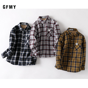 Image 5 - GFMY 2020 summer 100% Cotton Full Sleeve Fashion Plaid Boys  Plus velvet Shirt 3T 12T Casual Big Kid Clothes Can Be a Coat