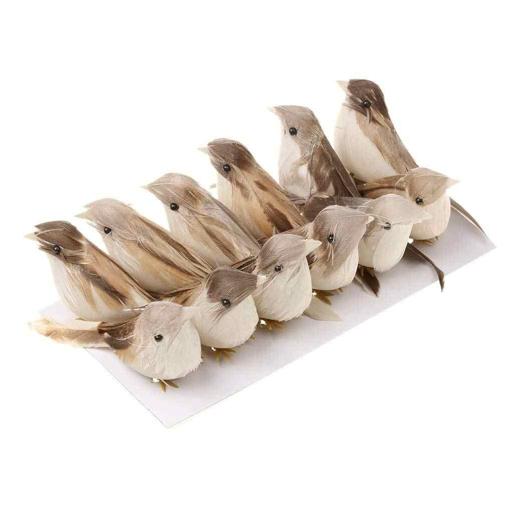 12 pièces plume artificielle oiseau décor artisanat mariage colombes ornement oiseau ornement 3D mousse faux colombe décoration de sapin de noël